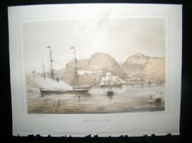 Saint Helena Perry Expedition 1856 Antique Print. Jamestown, St. Helena. Ships